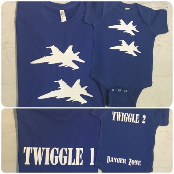 Father's Day Daddy and Son Matching F18 on Front custom Call signs on Back Danger Zone on bum Perfect for Fathers Day