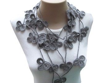 PDF Tutorial  Pattern... Crochet Scarf, Lariat  Necklace -1