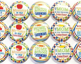 """Homeschool Magnet, 1"""" Button Magnet, Homeschool Decor, Homeschool Theme, Homeschool Button, Homeschool Fridge Magnet, Homeschool Gift"""