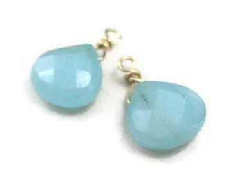 Blue Gemstone Earring Charms Gold Ear Dangles Aqua Interchangeable Drops Wire Wrapped