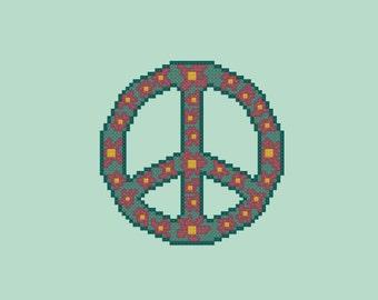 Floral Christmas Peace Wreath Cross Stitch Pattern PDF Digital Download