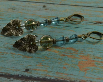 SKY AND EARTH~~Czech glass and silver plated antique brass leaf earrings~~ Two Fell Swoop