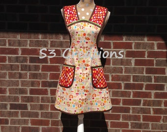 Fall, Harvest, Thanksgiving Apron with Ric Rac Trim, Mother and Daughter sizes available.