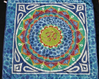Om mandala, hand painted silk scarf, art to wear, unique