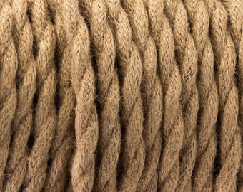 3 Core Vintage Brown 0.75mm Flexible Cable - Braided Twisted Fabric Lighting Cord