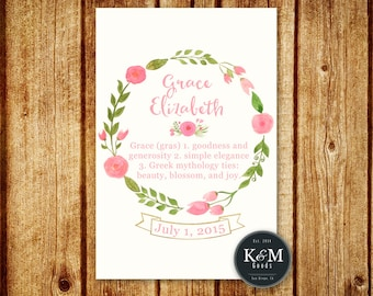 Personalized Name Wall Art / Name Meaning / Name Definition / Custom Nursery Decor / Digital Printable File