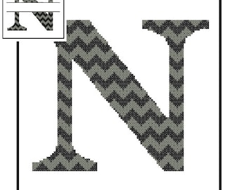 Chevron Monogram N Cross Stitch Pattern N Initial N Letter cross stitch Wedding Gift split letter cross Wedding Record Anniversary