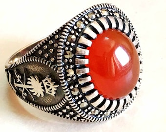 handmade 925 sterling silver mens rings natural red agate carnelian stone aqeeq