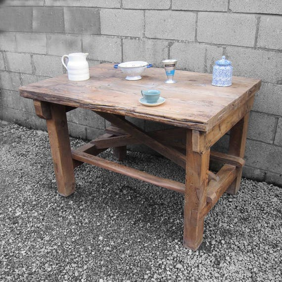Kitchen Island Rustic Pine Work Bench Vintage 1940s Display Table