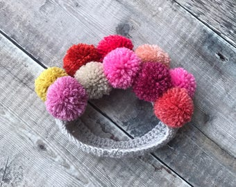 Baby pompom headband - kids hair accessories - childrens crochet headband - baby shower gift