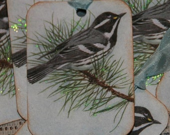 Glittered Vintage Postcard Winter Bird Gift Tags