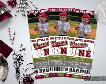 Baseball Ticket Invitations, First Birthday Invitation, Baseball Party Invitation