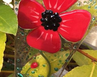 Poppy garden plant stake