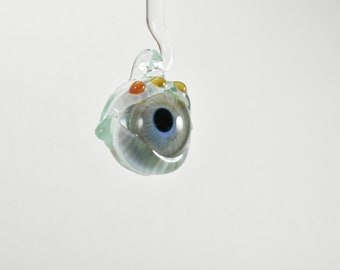 Glass Eye Pendant, Flameworked Boro Glass, Trippy Blue Green Iris With Light Green Casing (Small), Number 1