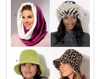 Sewing Pattern for  Misses' Hood, Beanie and Bucket Hats, Kwik Sew Pattern 4203, NEW Pattern, Hood, Faux Fur Hat, Fleece Hat