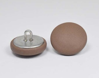 6 buttons covered with leather Brown 20mm
