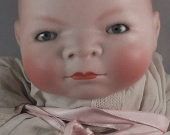 Antique German bisque porcelain Bye Lo Baby, doll, Corp. by Grace S. Putnam / Georg Borgfeldt & Co. 1922