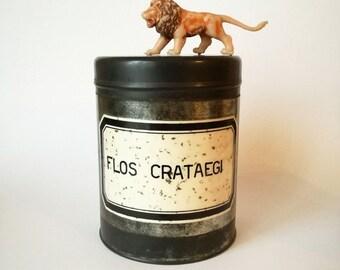 Vintage apothecary jar Tin apothecary jar Tin Teacaddy bathroom kitchen storage
