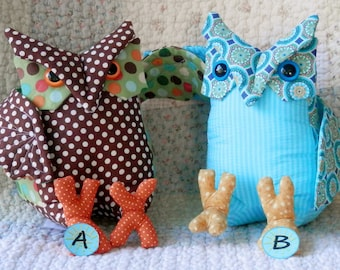 stuffed animals, soft animals, toys, children, adults, owls, birds, one of a kind, whimsical