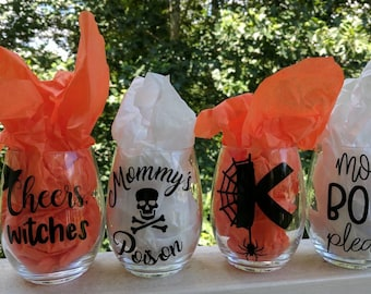 Halloween wine glass, Monogram Halloween glass, fall wine glass, funny Halloween wine glass, mom's wine glass, funny glass, cheers witches