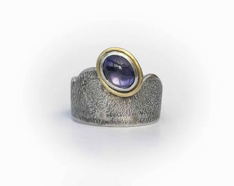 Water Sapphire Mountain Ring - Silver + 18ct Gold - Ready to Send!