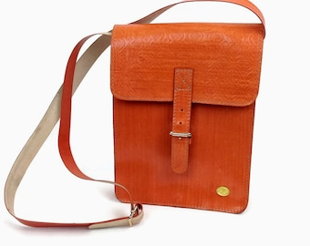 Real Leather Messenger bag with long strap, Tarini genuine leather orange bag , classy leather crossbody, Sleek leather messenger bag