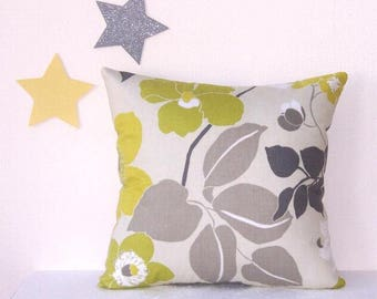 20 x 20 Pillow Cover, Waverly Yellow Ivory Grey Pillow, Floral Accent Pillow Case, Summerscape Graphite Couch Cushion Cover