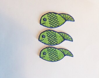 3 Vintage Fish Polliwog Badges Sew On Patches Green and Blue Vintage