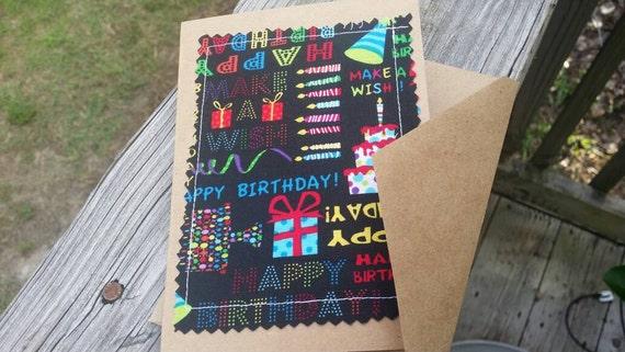 Handmade Birthday Cards / Fabric Scrap Birthday Card / Handmade Greeting Card/Blank Birthday Card /Customizable Birthday Card /Birthday Gift