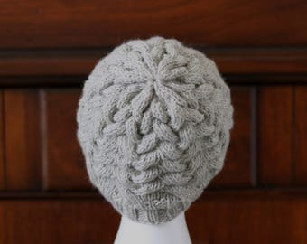 Cable Braided Knit Winter Hat,  Gray Adult Teen Wool Knit Hat
