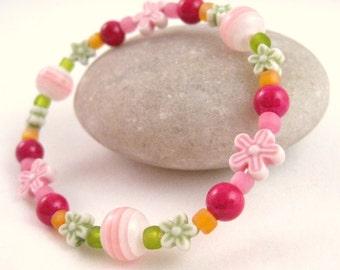 Pink Green and Orange Girls Bracelet with Flowers, Large Girls Stretch Bracelet, GBL 102