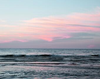 beach canvas art, beach at sunset, beach photography, nature photography, canvas print, beach print, wall art, fine art, pink sky