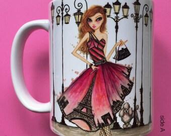 Paisley Paris, Coffee Mug, Fashion illustration, Bella Pilar, Fashion mug