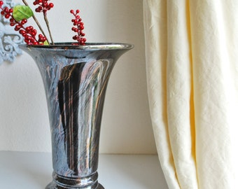 Tall Vintage Fluted Black Pottery Flower Vase With Swirling Metallic Glaze Hollywood Regency Mid Century
