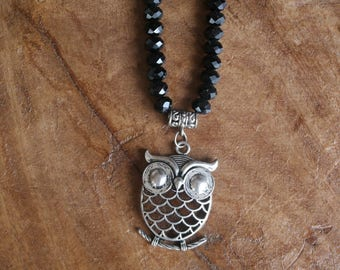 Perching Owl pendant beaded necklace