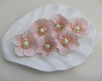 Edible Soft Pink Flowers with a Gold and Pearl Center Gum Paste Cupcake Toppers... Cakes...