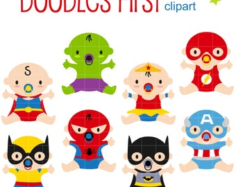 Superhero Babies Digital Clip Art for Scrapbooking Card Making Cupcake Toppers Paper Crafts