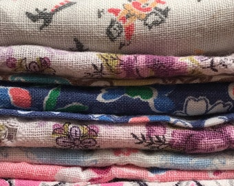 11 Lg Pcs 1/2 Sacks Remnants Crafting ONLY Vintage Feedsack Flour Sack Cotton Quilt Fabric