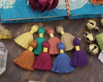 "Fall Favorites Mix Mini Tassels with Gold Binding, Blue, Purple, Green, Blue, Mustard, Merlot, Handmade Jewelry Making Supply 1.25"", 8 pcs."
