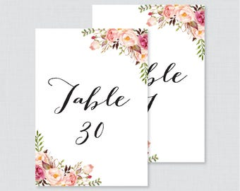 Printable Wedding Table Numbers - Pink Floral Table Numbers for Wedding, Instant Download Table Numbers with Numbers 1-30 Rustic Flower 0004