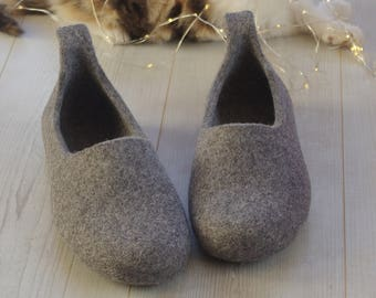 gift for husband - felted slippers - hause slipper - natural felt wool slippers - felted sleppers
