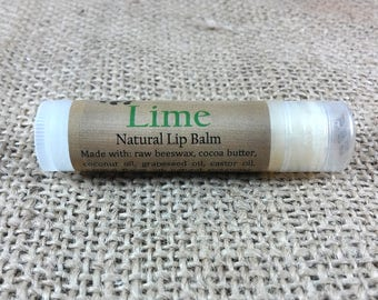 Lime Lip Balm - All Natural with Cocoa Butter and Beeswax - Citrus