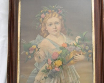 "Vintage 17"" x 22"" Chromolithograph Girl Child in deep Walnut Frame"