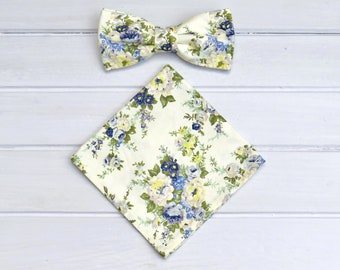 Floral Men Bowtie , Cream Blue Floral Bow tie, Pocket Square, Mens Bowtie, Groom Groomsmen BowTie, Mens Handkerchief, Wedding Bow Tie