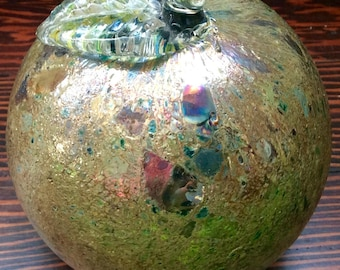 """Large 4"""" Opalescent Enameled Apple Paperweight, Vintage Apple Shaped Paperweight, Green Apple Paperweight, Enameled Paperweight, Fruit Decor"""