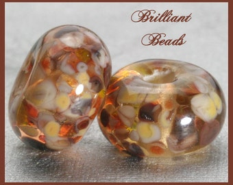 Sable...Brown & Taupe Mix Glass Spacer Bead Pair...Handmade Lampwork Beads SRA, Made To Order
