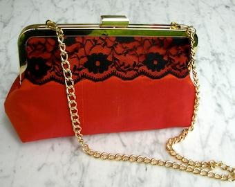 Metal-frame clutch purse Dupioni silk lace orange silk evening bag wedding gold frame frame bridalclutch handbag cosmeticbag handbag