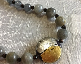Image of the moon Venetian glass necklace