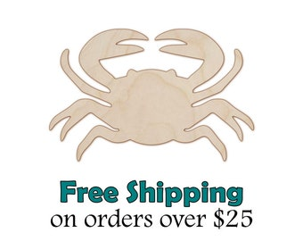 Crab Wood Cutout - Natural Wood Crab Cut Out - Laser Cut Unfinished Wooden Crab Shape - Paintable Stainable - DIY Craft Shape