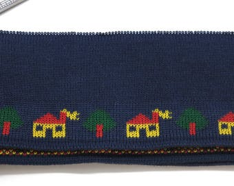 Woven Jacquard band, stretch Jacquard band, dark blue with pattern of houses and trees, wide, vintage dead stock, 7 cm x 140 cm